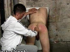 Hot gay men in hard bondage with socks cock