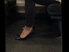 High Heel Dangle and Shoeplay on Train