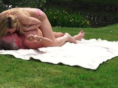 Sweet Young Blonde Fucked Old Guy in park and teen rimming