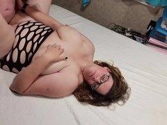 Fucking my bbw huge tit wife hard angle 3