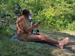 Nudist grandpa at the beach
