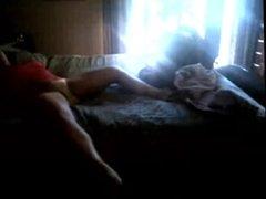 Woman in Panties Fingering on Bed - Hidden Cam