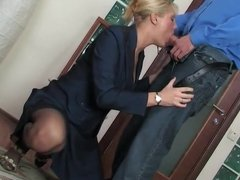 Guy seduces a mature woman in the office