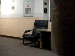 In hotel corridor