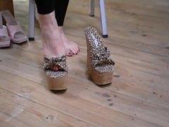 6 inch High Heel Leopard Print Cork Wedges