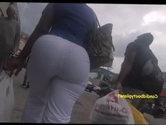 Monster African Phat Booty Candid in Tight White Pants
