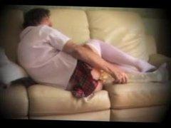 transvestite schoolgirl pantyhose lingerie fisting anal toy 55