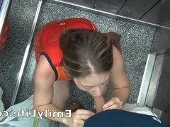 blowjob in the elevator with your amateur wife