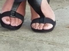 Candid mature lady feet on break pt 2