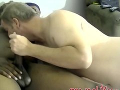 Naughty mature dude gives blowjob to black hunk James