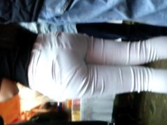Teen candid ass white jeans