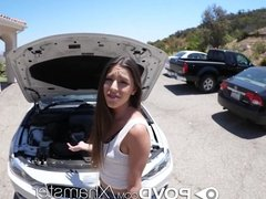 POVD Car troubled brunette Arielle Faye fucked and facialed