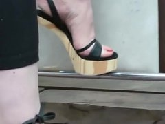 Shoeplay In Strappy Wooden Wedges