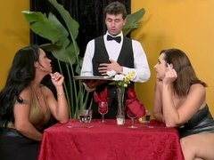 Busty brunette has sharp sex with waiter.mp4