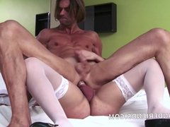 Crazy hot big blonde shemale fucks muscled guy with cumshot