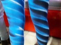 Blue leggings spandex