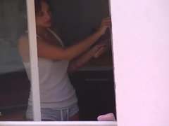 Neighbour Wife Cleaning the Window