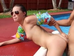Teen fucks girl with strapon Swimming In