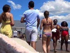 Bikini Babe Strolling on Boardwalk
