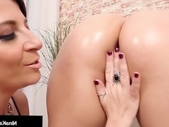 Sexy Serb Nina Kayy Gets Spanked On Her Big Ass by Sara Jay!