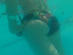 Underwater ice flower bikini mom ass