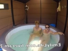 Swinger afternoon in the jacuzzi on livecam for the voyeurs