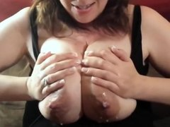 Lactate tit milking myself