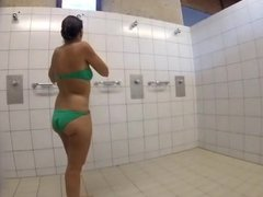 french milf in pool shower