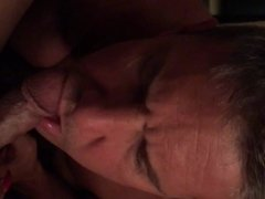 Slave sucking cock while fingering