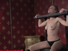 BDSM sub toyed by maledom while tiedup