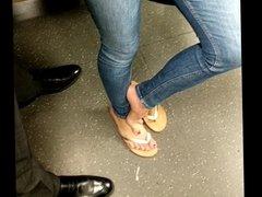 MILF feet in train (no nude)