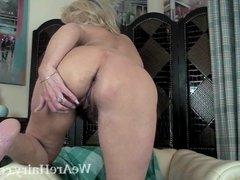 Ellen B gets naked on her white armchair