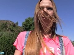 Public Agent Long haired babe fucked outside