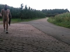 walking naked outdoors