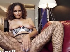 Big natural tits Raven Redmond riding cock on the couch