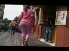 Candid PHAT ass latina in pink see-thru leggins