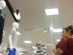 Candid big ass milf in tight white pants.