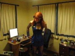 Wearing a sexy air hostess uniform