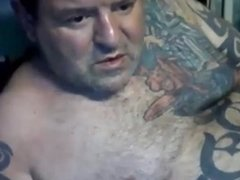 Dad with tattoos play and cum