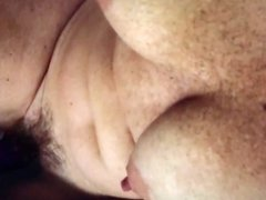 Wife orgasm. Bush and vibrator.  Nipples are killer