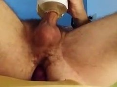 Cum with flashlight and butt plug