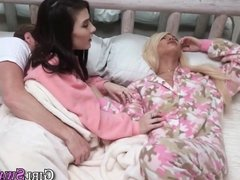 Stepdaughters gobble cock