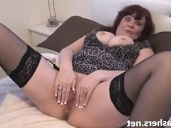 Voyeur granny in peeping upskirt masturbation of old pussy with mature amat