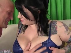 Big tittied Scarlet Lavey and big ass girl takes big dick