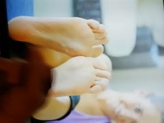 Having fun with her evas feet!