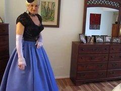 Priscilla Blue Satin Gown .