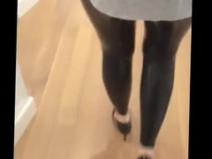 high heels und latex leggings public