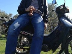 Guy Masturbating On A Motorcycle In The Wild