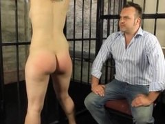 Naked Brunette Slave Gets Spanked