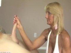 Blonde granny handjob